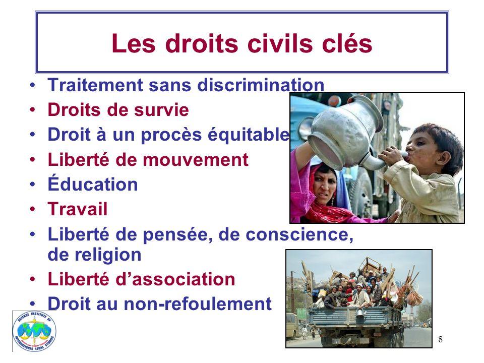 Les droits civils clés Traitement sans discrimination Droits de survie