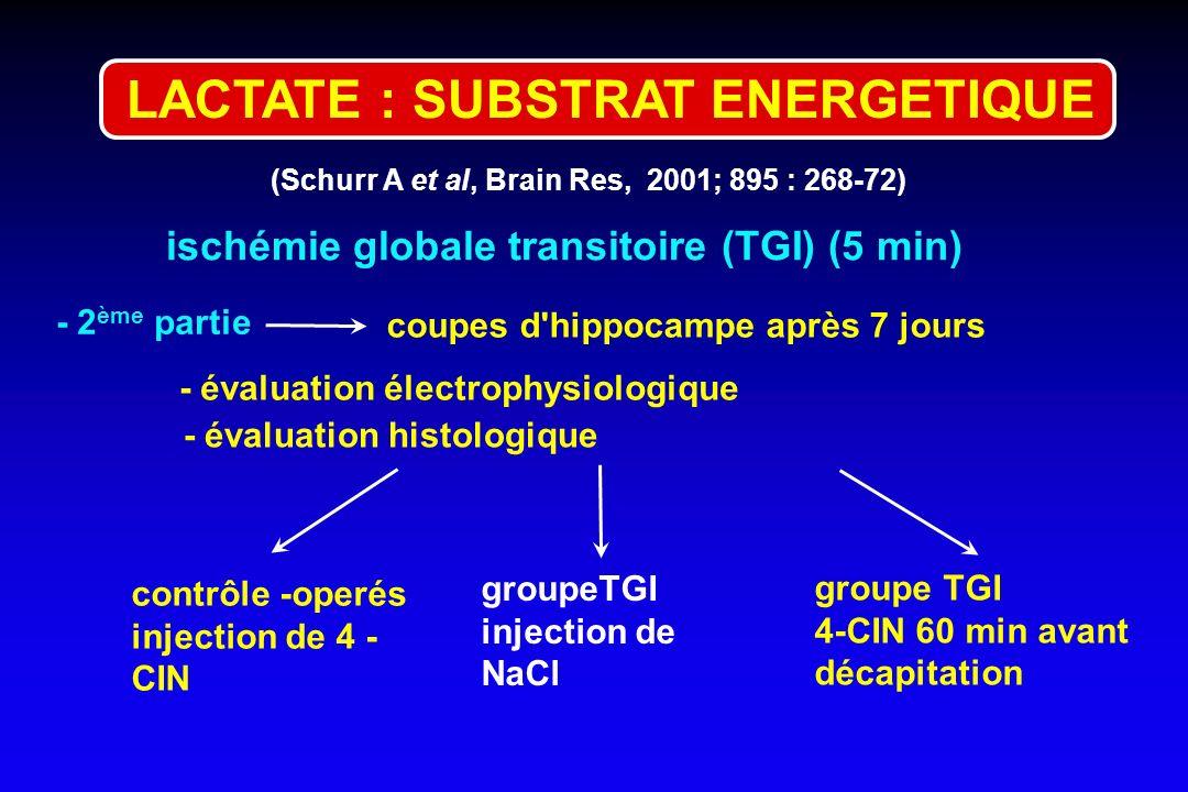 LACTATE : SUBSTRAT ENERGETIQUE