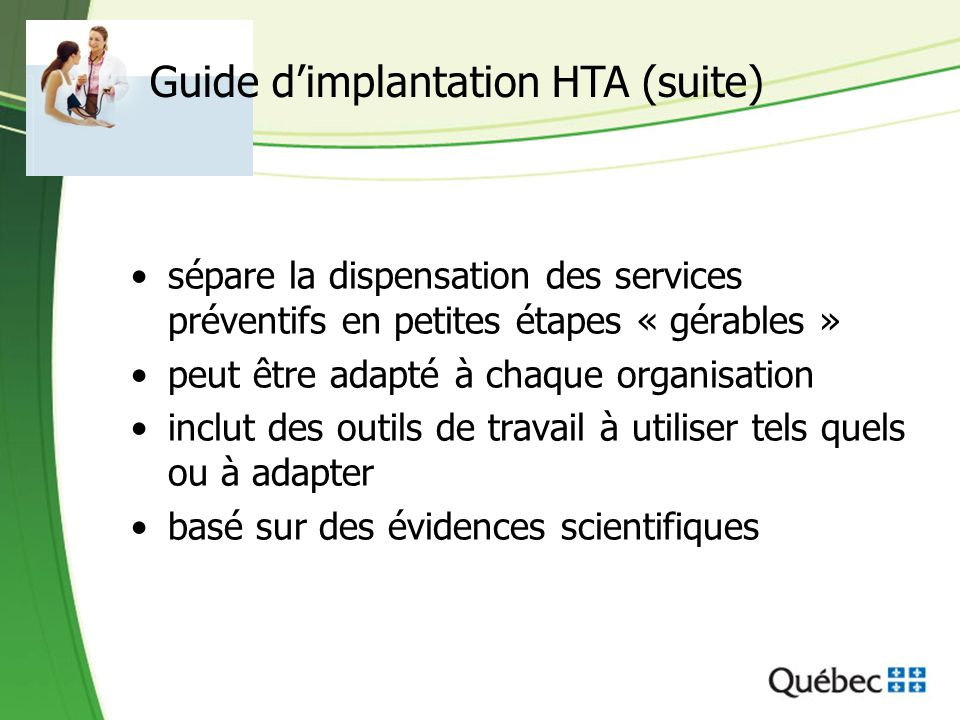 Guide d'implantation HTA (suite)