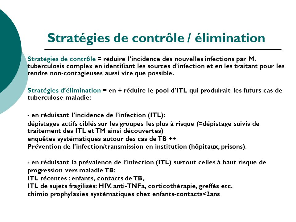 Stratégies de contrôle / élimination