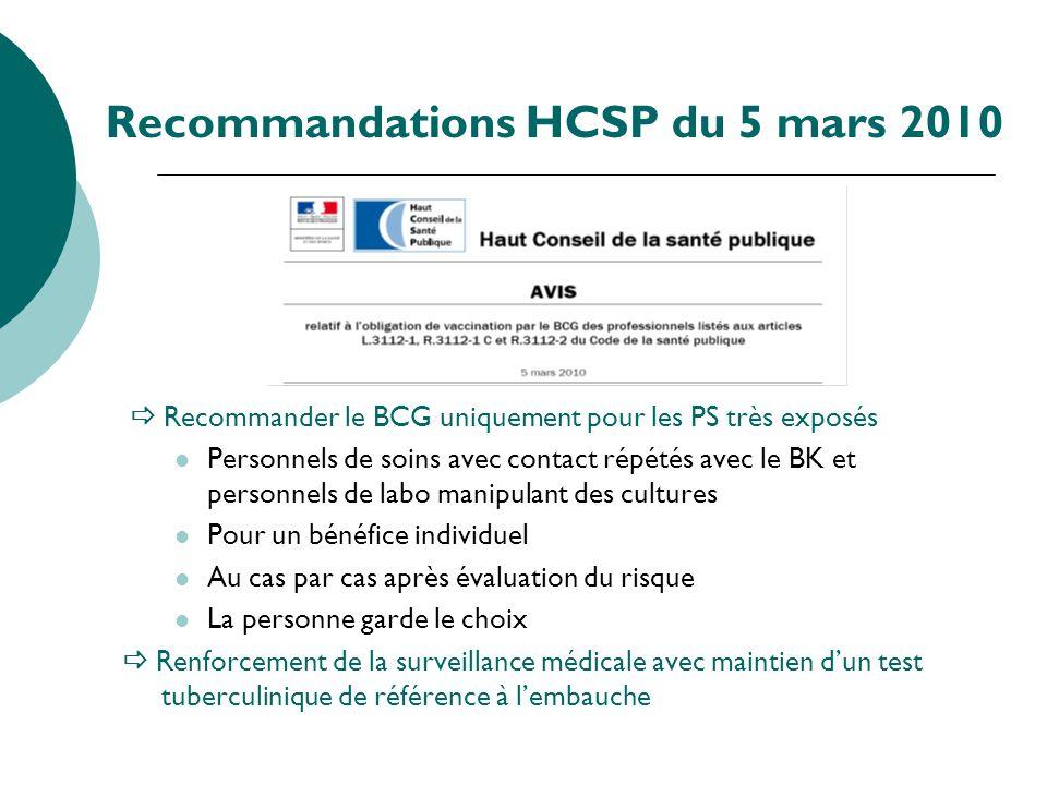 Recommandations HCSP du 5 mars 2010