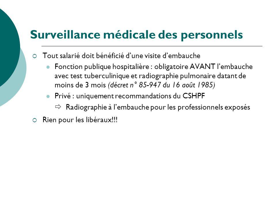 Surveillance médicale des personnels