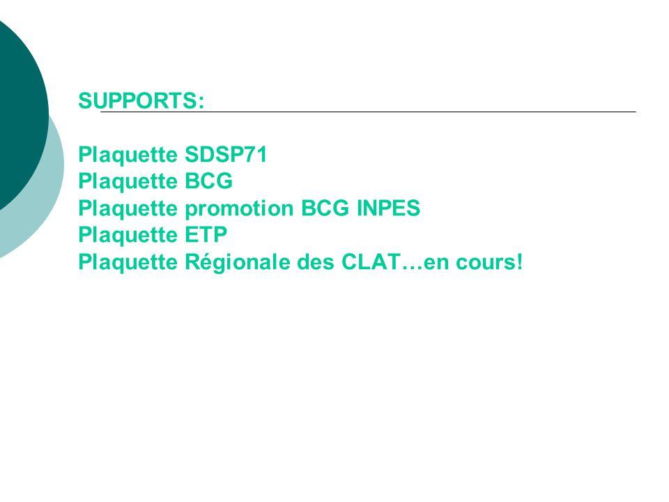 SUPPORTS: Plaquette SDSP71 Plaquette BCG Plaquette promotion BCG INPES Plaquette ETP Plaquette Régionale des CLAT…en cours!