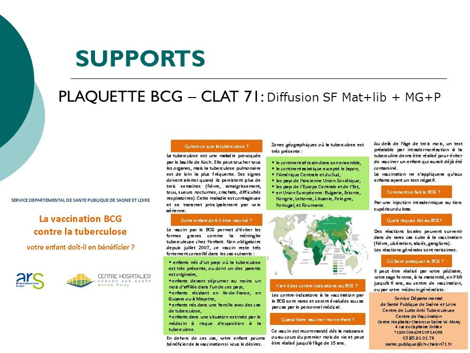 SUPPORTS PLAQUETTE BCG – CLAT 71: Diffusion SF Mat+lib + MG+P