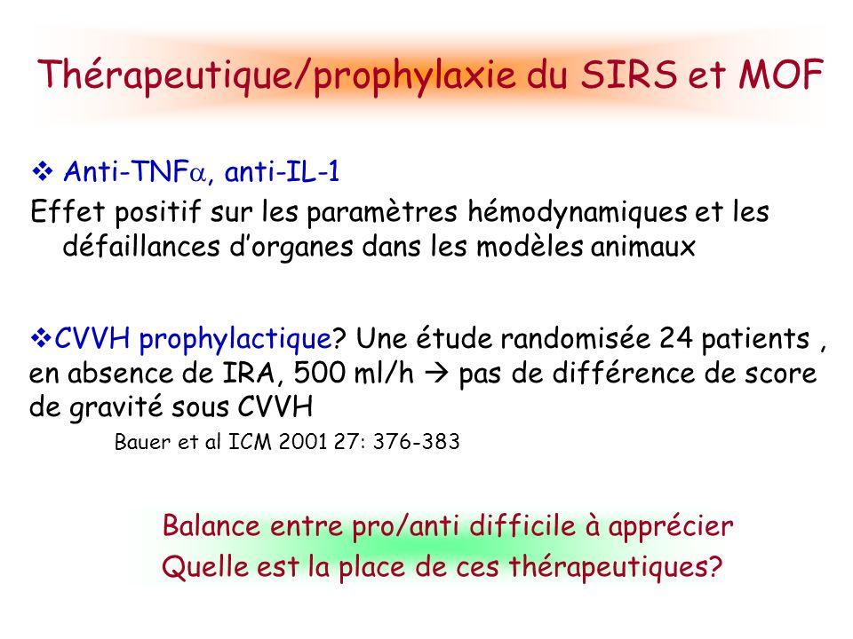 Thérapeutique/prophylaxie du SIRS et MOF