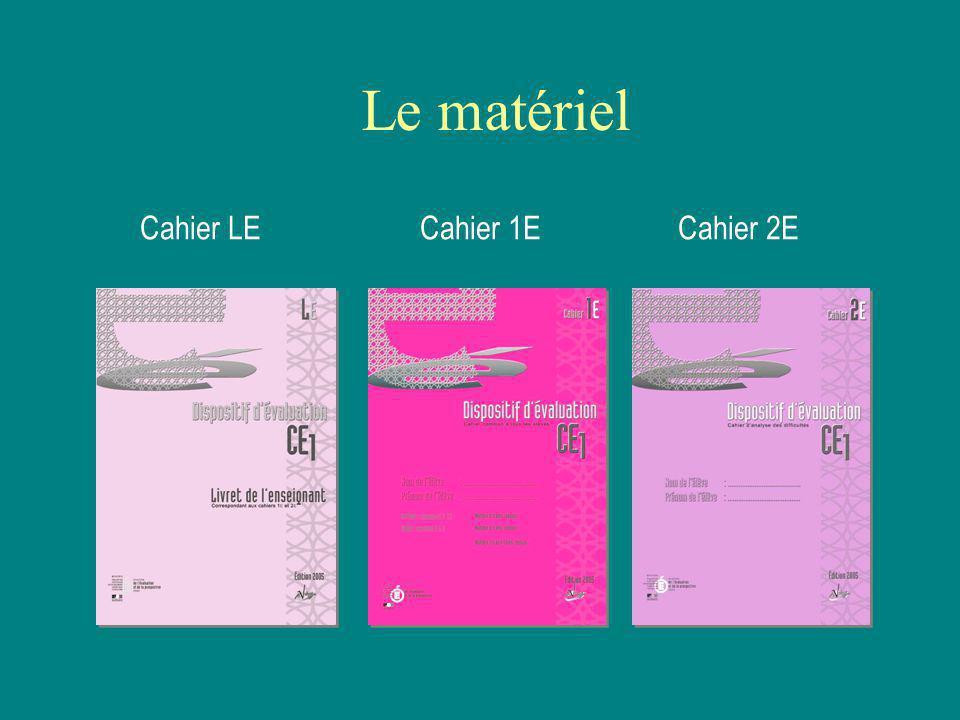 Le matériel Cahier LE Cahier 1E Cahier 2E