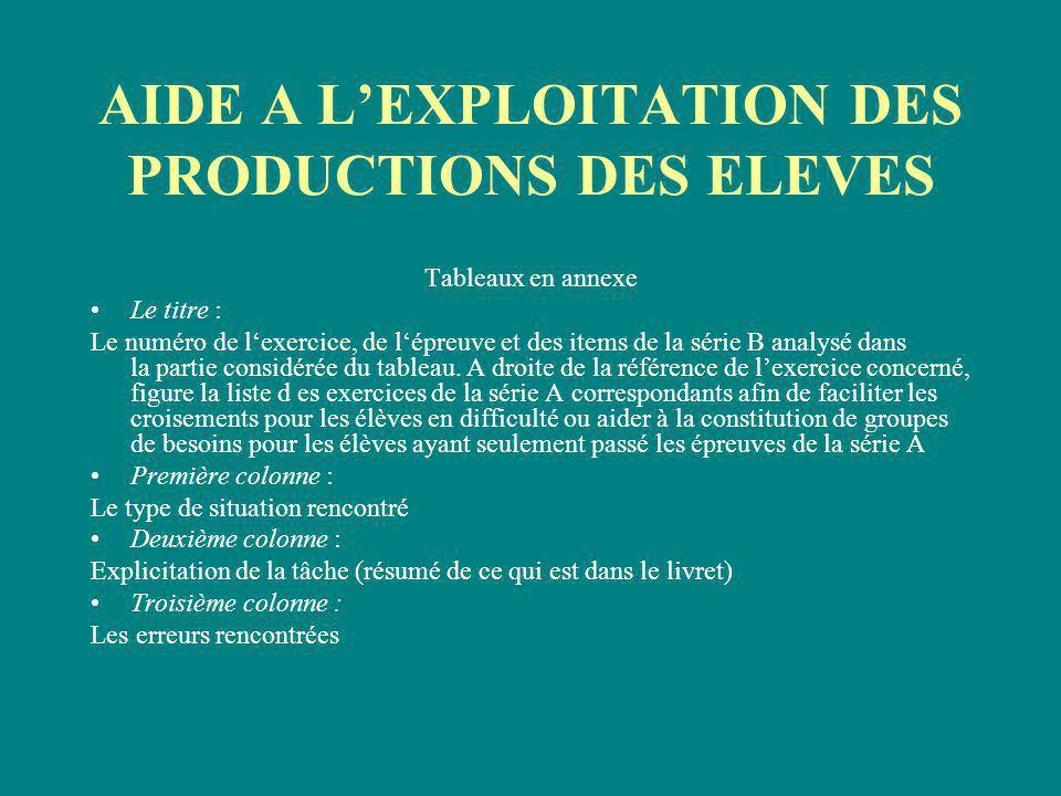 AIDE A L'EXPLOITATION DES PRODUCTIONS DES ELEVES