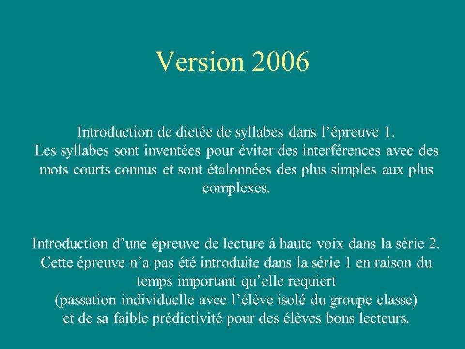 Version 2006 Introduction de dictée de syllabes dans l'épreuve 1.