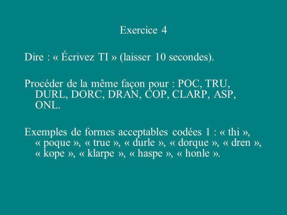 Exercice 4 Dire : « Écrivez TI » (laisser 10 secondes). Procéder de la même façon pour : POC, TRU, DURL, DORC, DRAN, COP, CLARP, ASP, ONL.