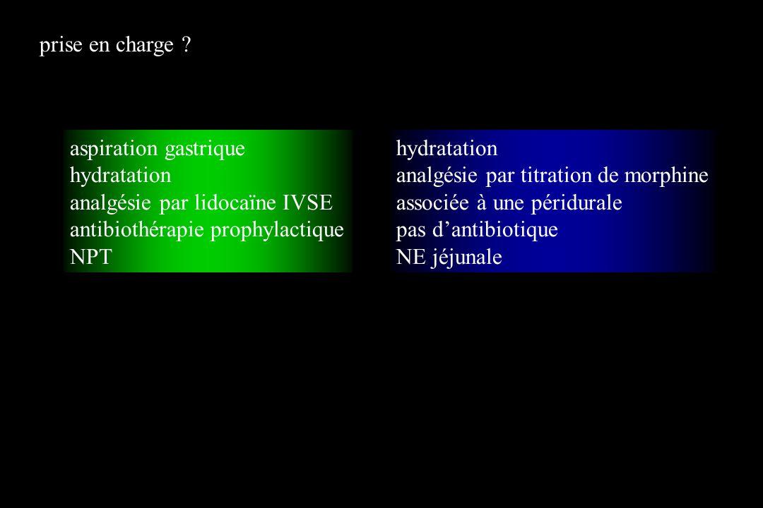 prise en charge aspiration gastrique. hydratation. analgésie par lidocaïne IVSE. antibiothérapie prophylactique.