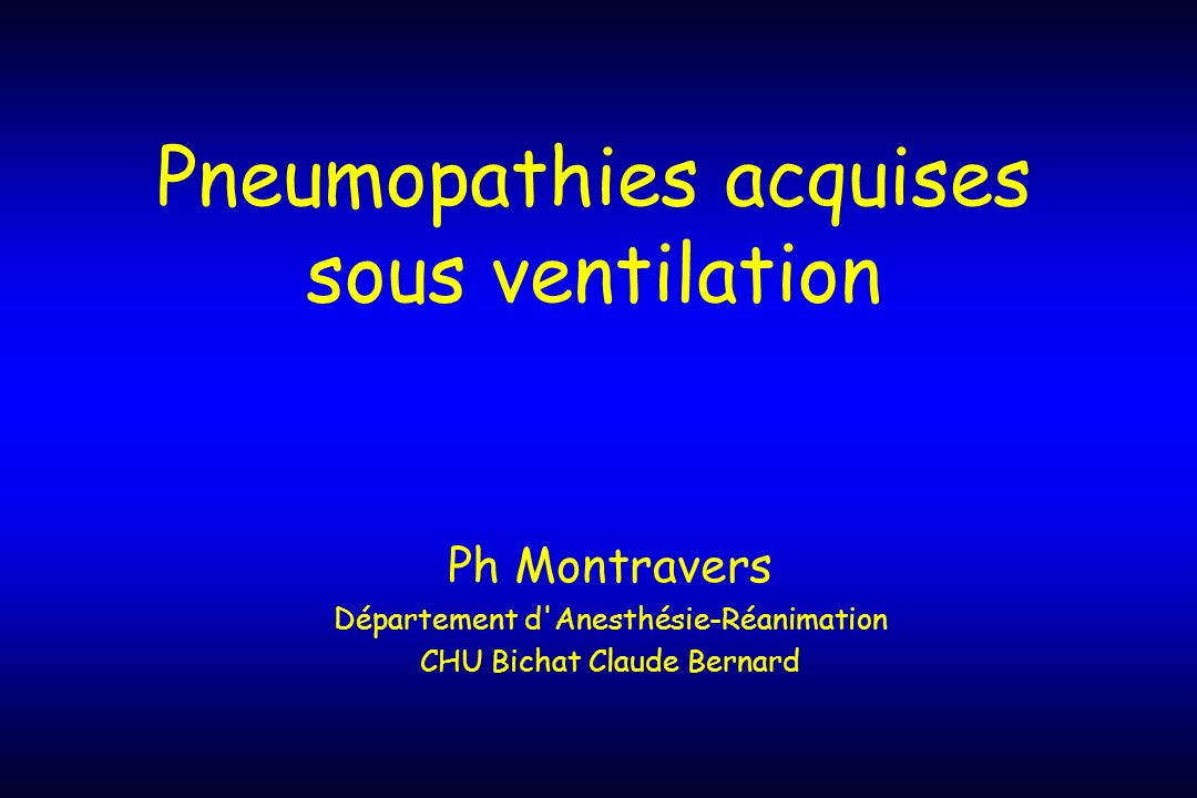 Pneumopathies acquises sous ventilation