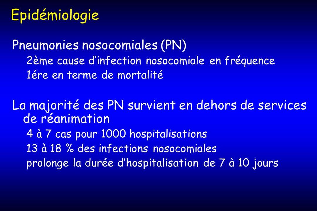 Epidémiologie Pneumonies nosocomiales (PN)