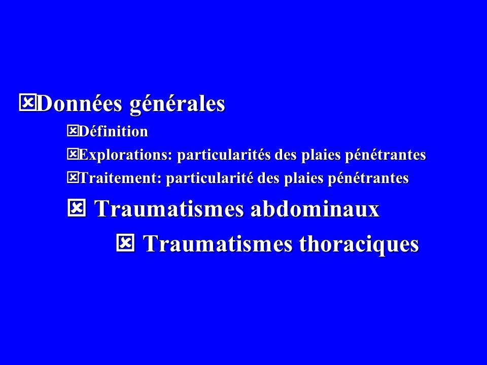  Traumatismes abdominaux  Traumatismes thoraciques