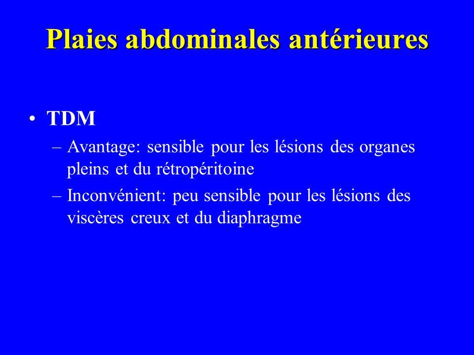 Plaies abdominales antérieures