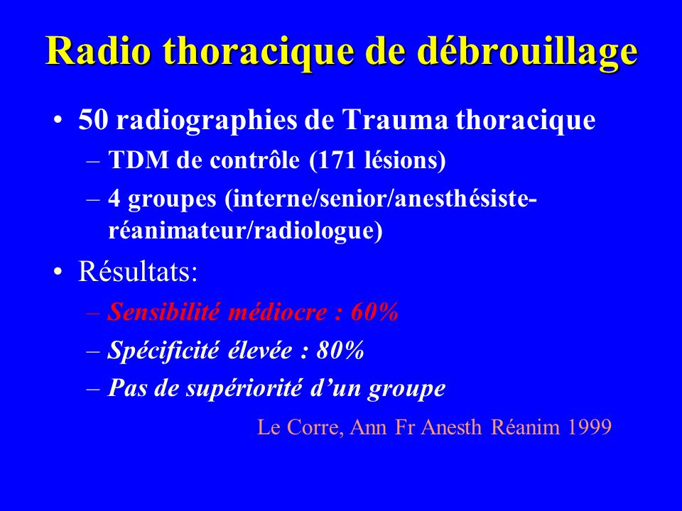 Radio thoracique de débrouillage