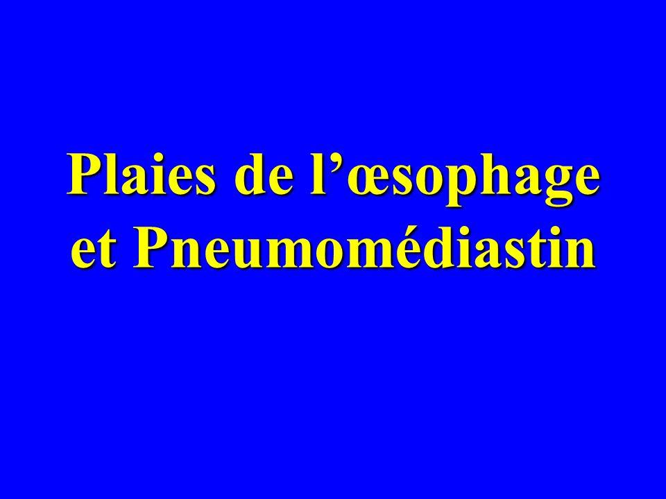 Plaies de l'œsophage et Pneumomédiastin