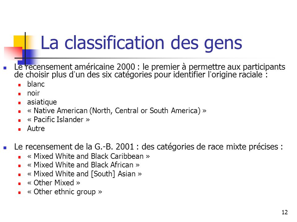 La classification des gens