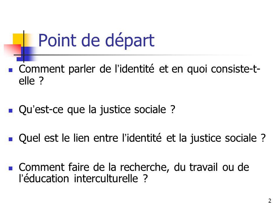 Point de départ Comment parler de l'identité et en quoi consiste-t-elle Qu'est-ce que la justice sociale