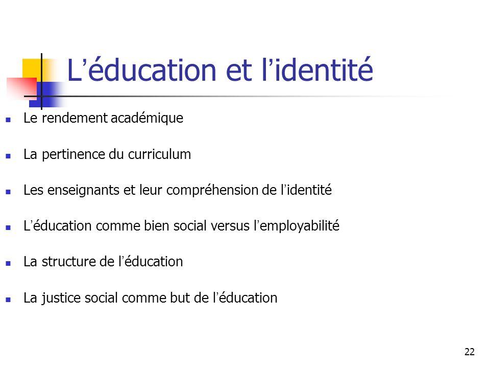 L'éducation et l'identité