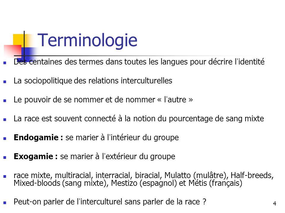 Terminologie Des centaines des termes dans toutes les langues pour décrire l'identité. La sociopolitique des relations interculturelles.