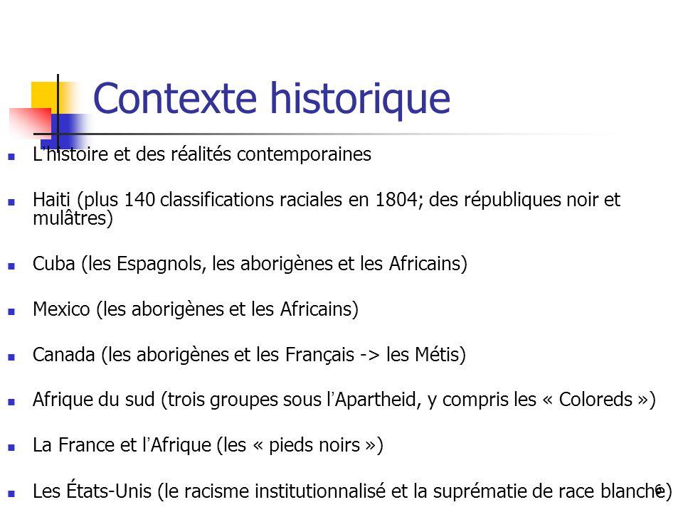 Contexte historique L'histoire et des réalités contemporaines
