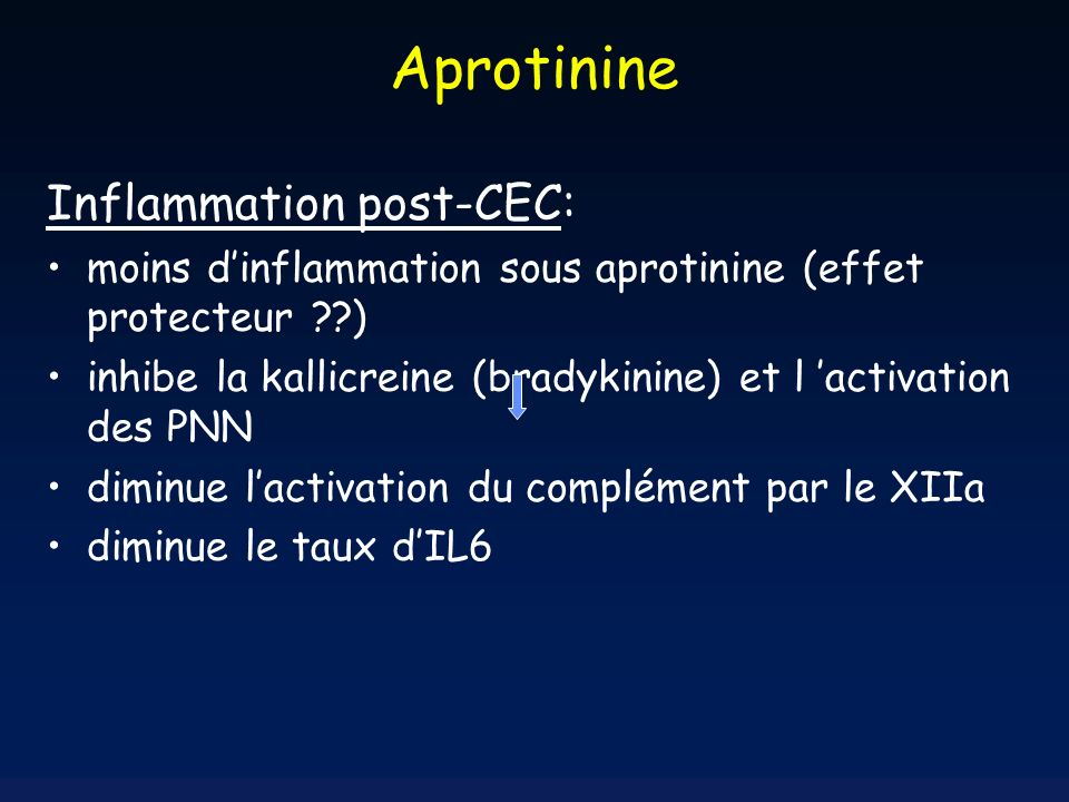Aprotinine Inflammation post-CEC: