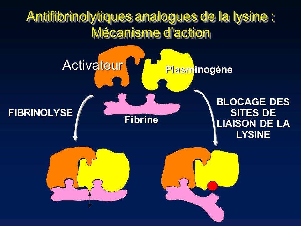 Antifibrinolytiques analogues de la lysine : Mécanisme d'action