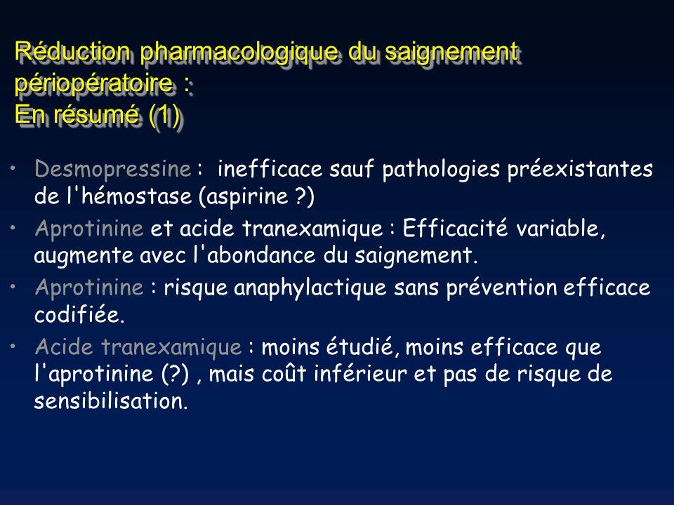 Réduction pharmacologique du saignement périopératoire : En résumé (1)