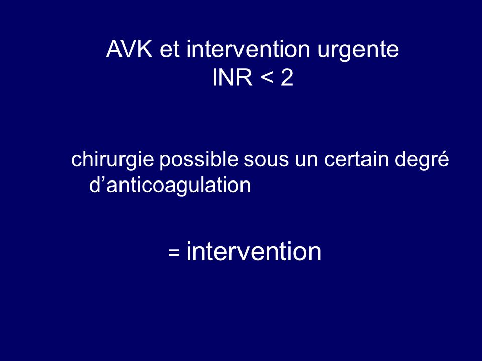 AVK et intervention urgente INR < 2