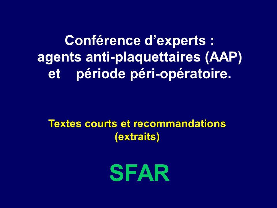 SFAR Conférence d'experts :