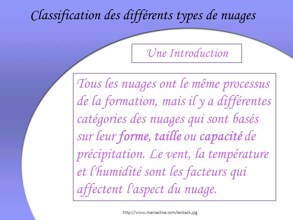 Classification des différents types de nuages