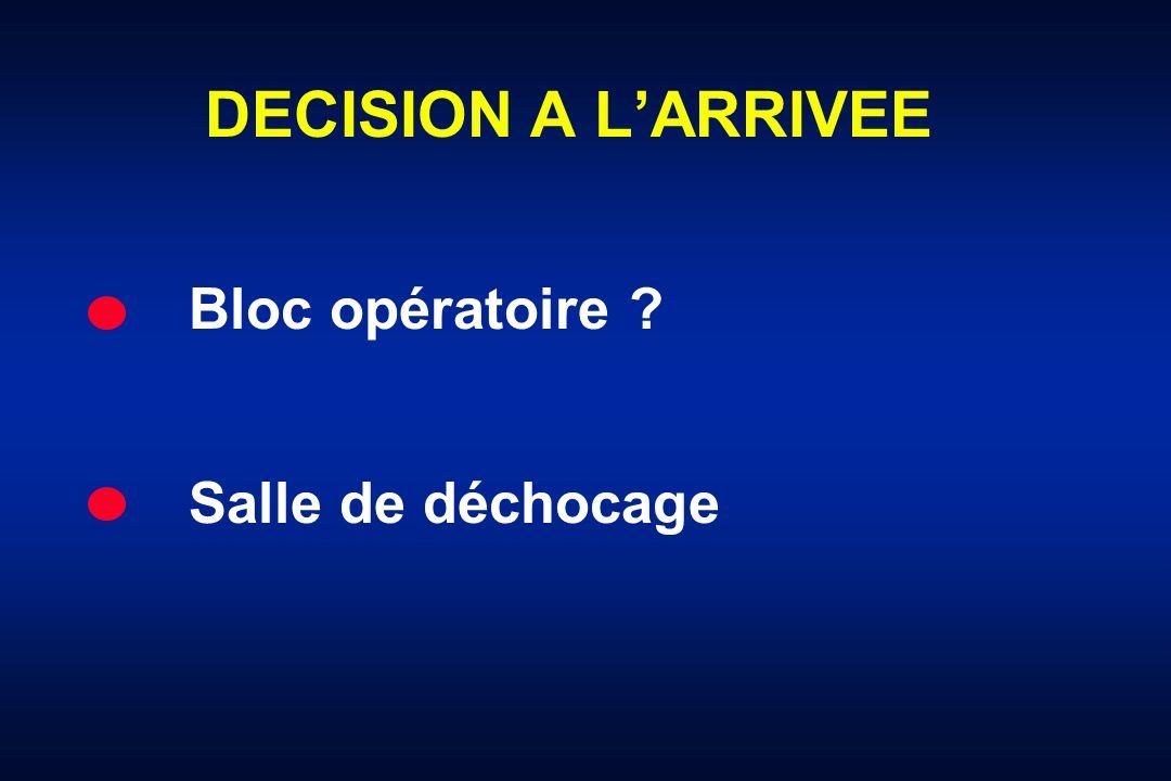 DECISION A L'ARRIVEE Bloc opératoire Salle de déchocage