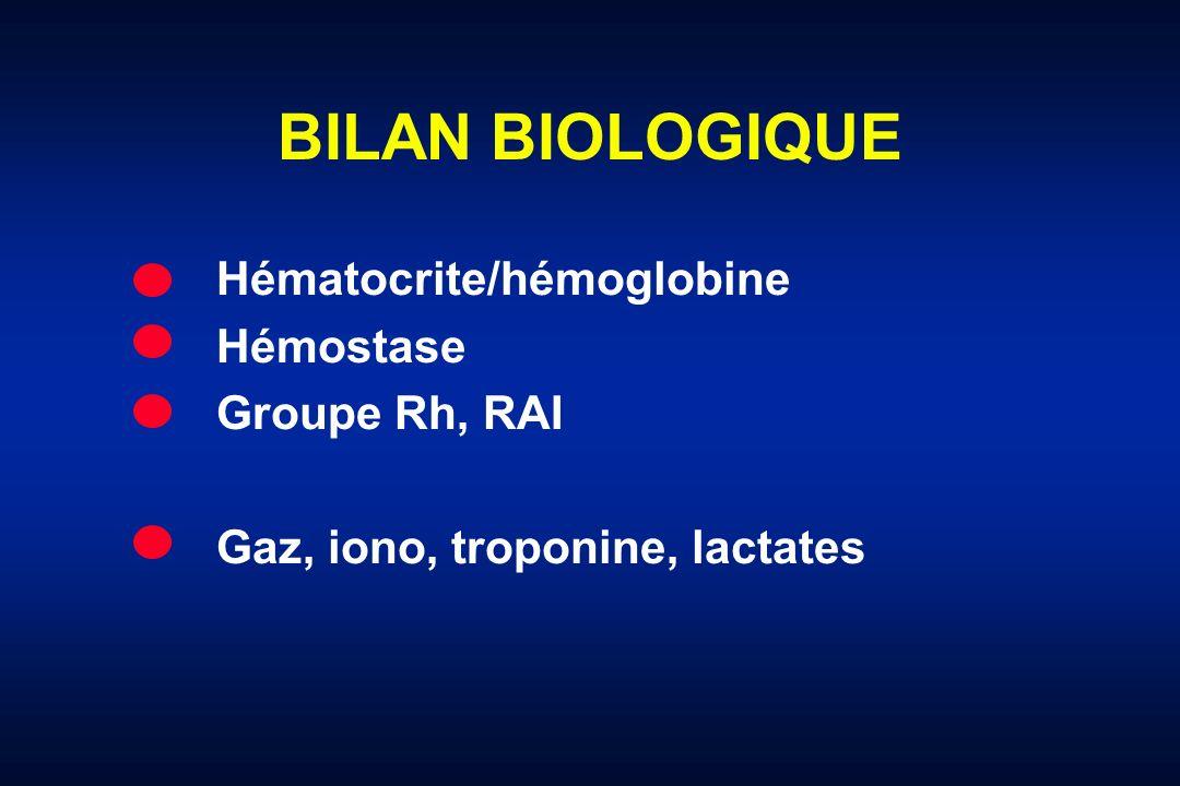 BILAN BIOLOGIQUE Hématocrite/hémoglobine Hémostase Groupe Rh, RAI