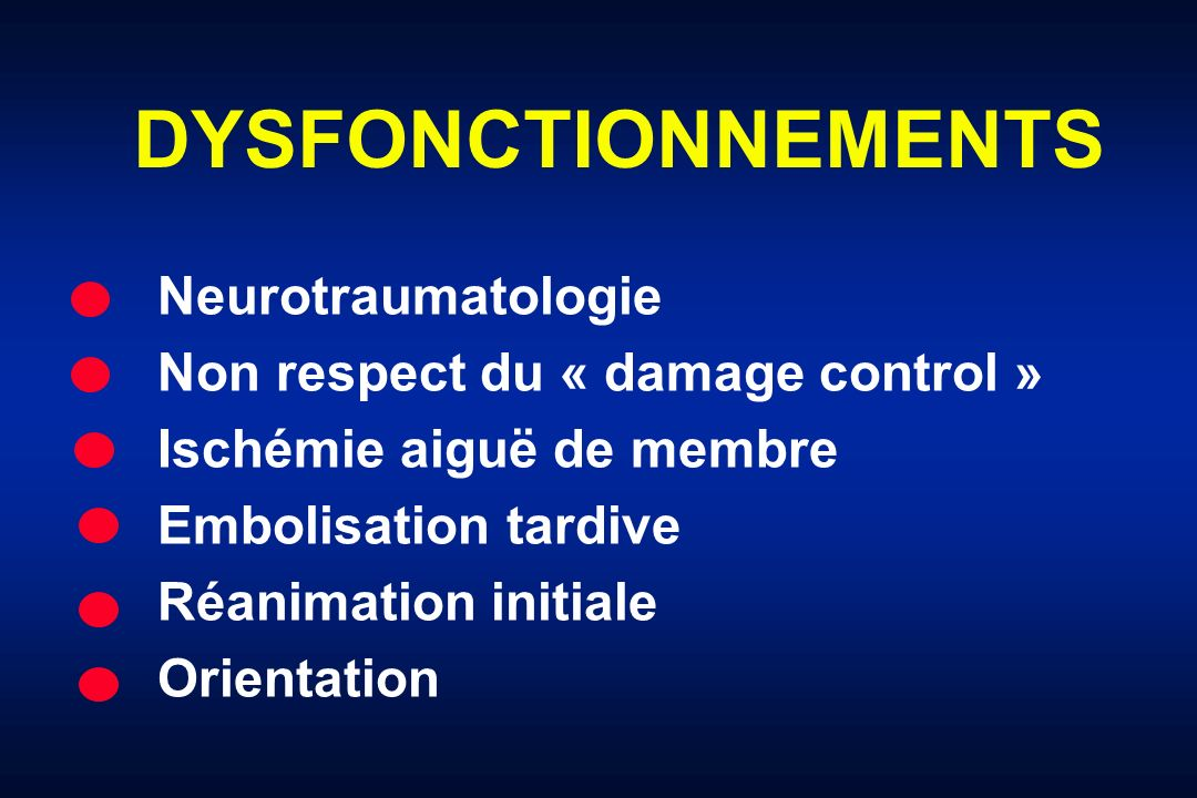 DYSFONCTIONNEMENTS Neurotraumatologie