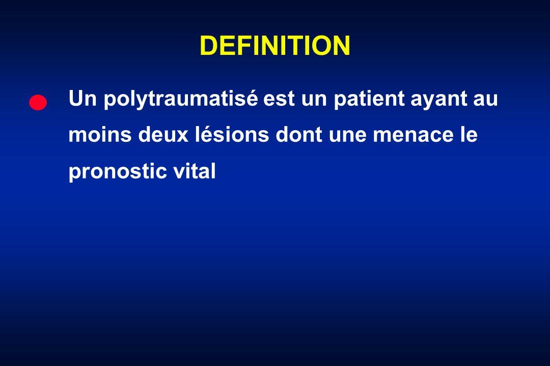 DEFINITIONUn polytraumatisé est un patient ayant au moins deux lésions dont une menace le pronostic vital.