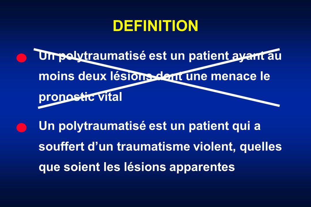 DEFINITION Un polytraumatisé est un patient ayant au moins deux lésions dont une menace le pronostic vital.