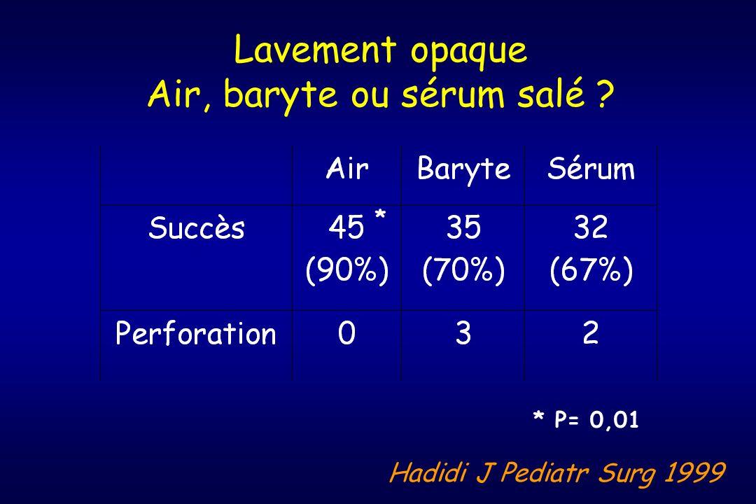 Air, baryte ou sérum salé