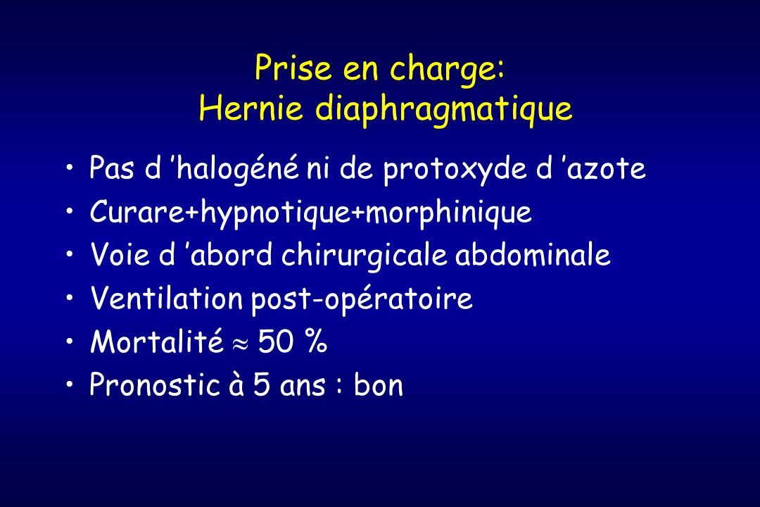 Prise en charge: Hernie diaphragmatique