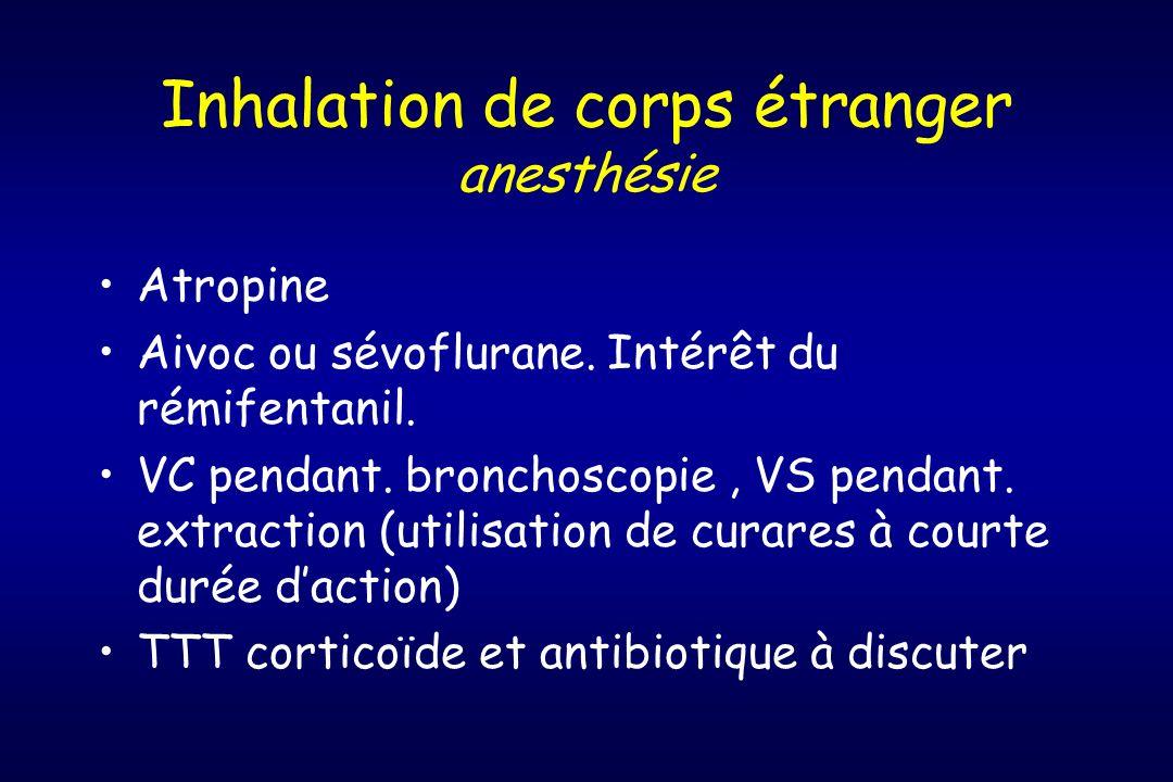 Inhalation de corps étranger anesthésie