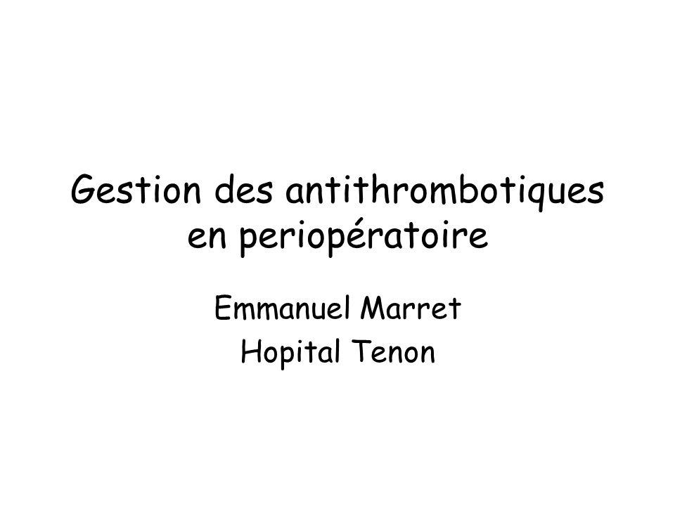 Gestion des antithrombotiques en periopératoire