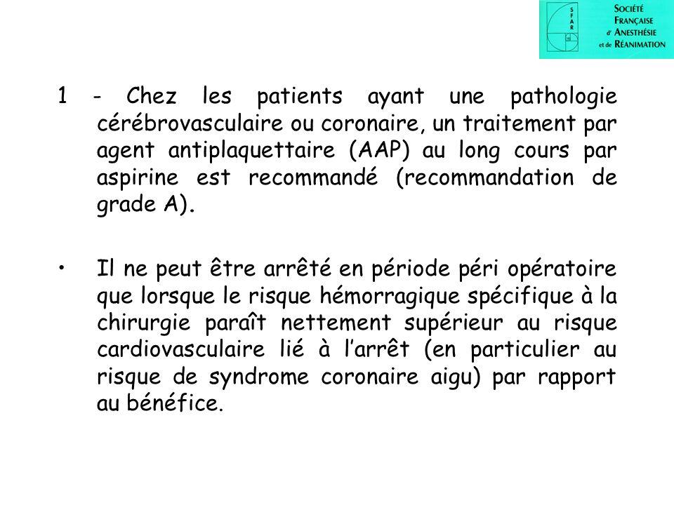 1 - Chez les patients ayant une pathologie cérébrovasculaire ou coronaire, un traitement par agent antiplaquettaire (AAP) au long cours par aspirine est recommandé (recommandation de grade A).
