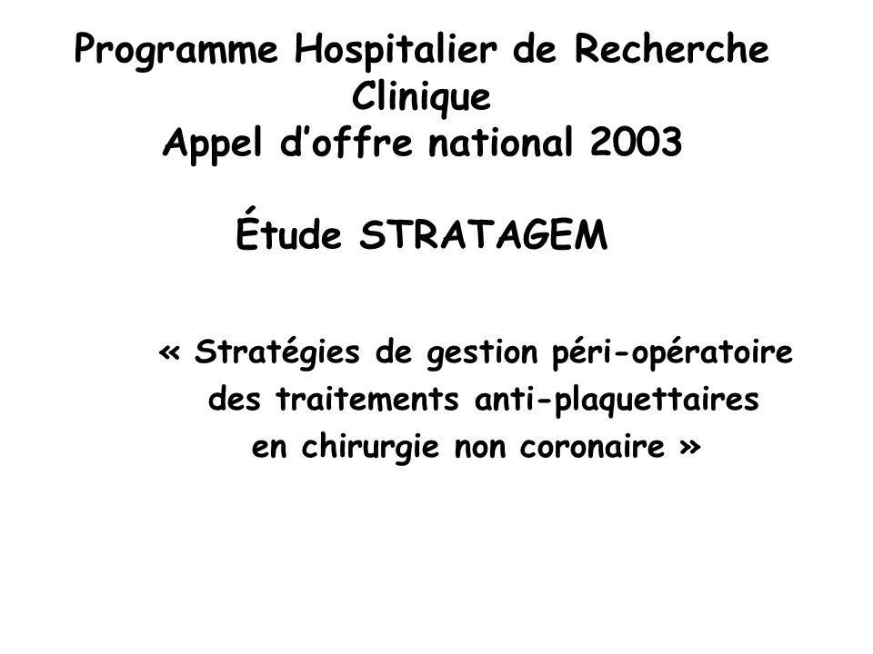 Programme Hospitalier de Recherche Clinique Appel d'offre national 2003 Étude STRATAGEM