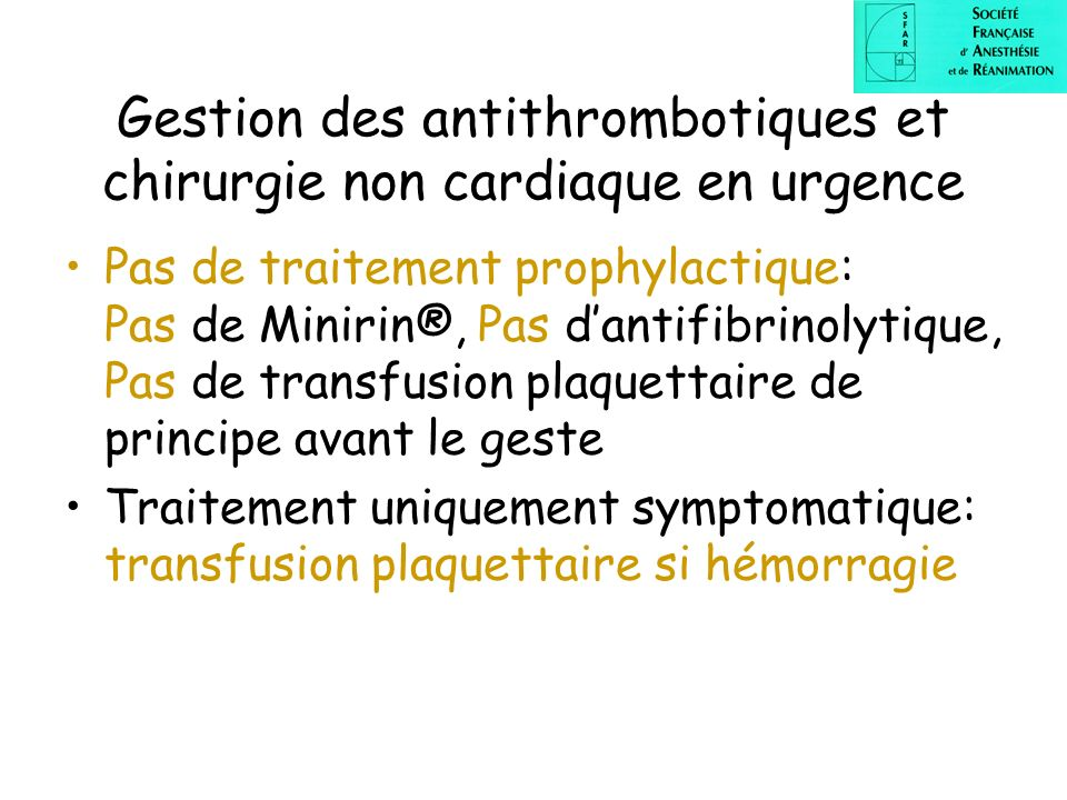 Gestion des antithrombotiques et chirurgie non cardiaque en urgence