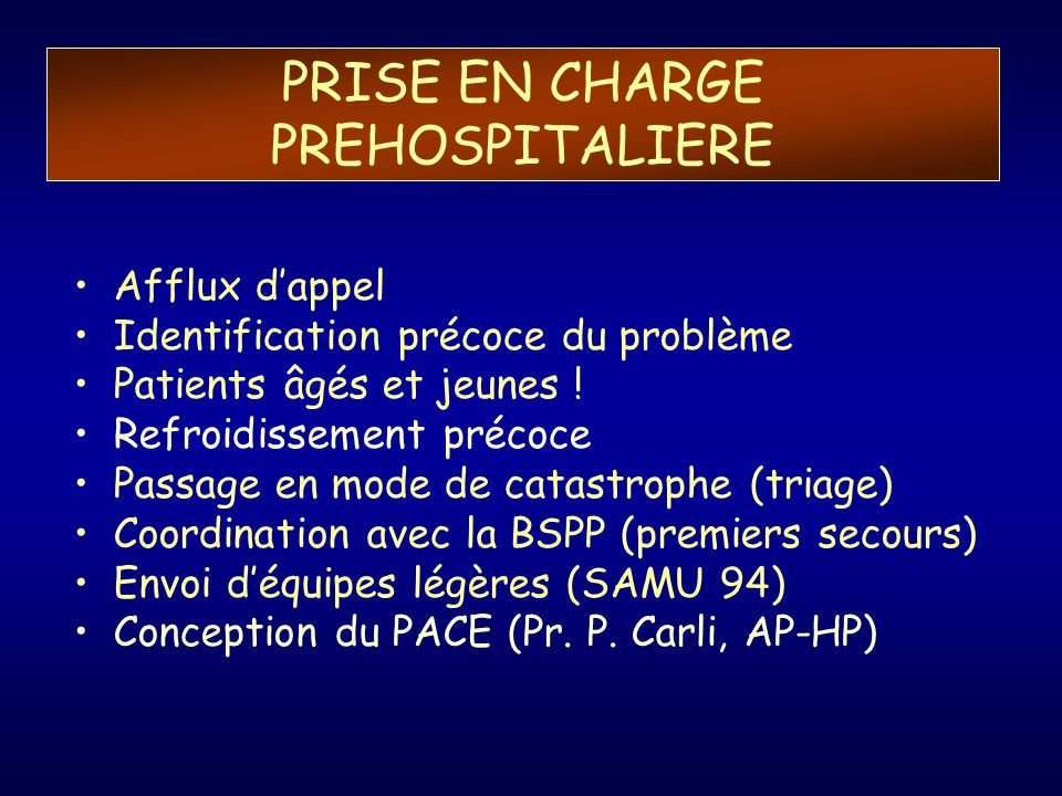 PRISE EN CHARGE PREHOSPITALIERE
