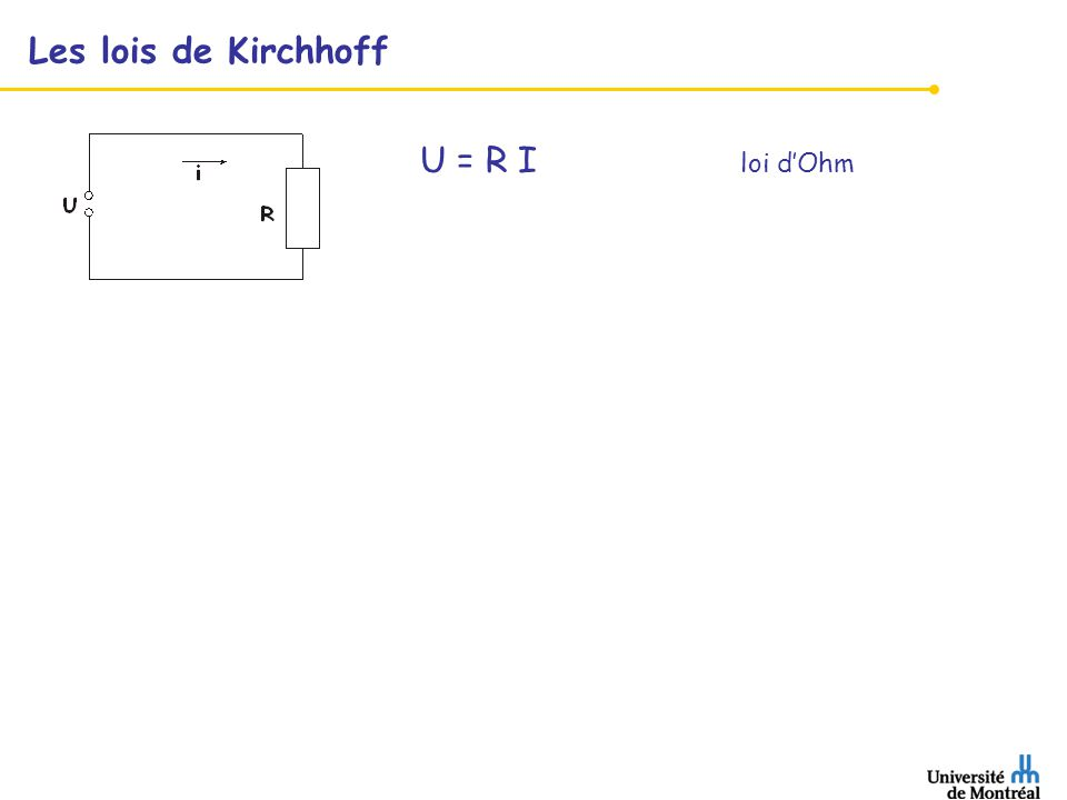 Les lois de Kirchhoff U = R I loi d'Ohm