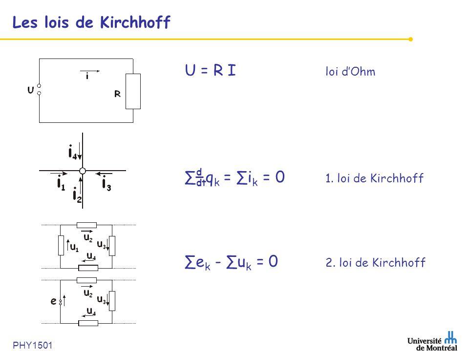 ∑ qk = ∑ik = 0 1. loi de Kirchhoff