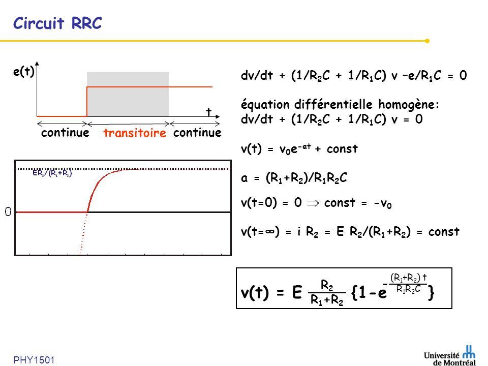 Circuit RRC v(t) = E {1-e } e(t) dv/dt + (1/R2C + 1/R1C) v –e/R1C = 0
