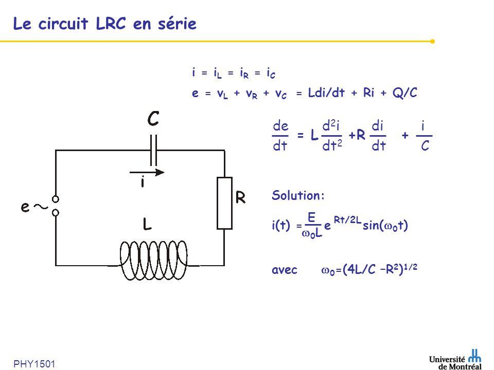 Le circuit LRC en série de d2i di i dt dt2 dt C = L +R +