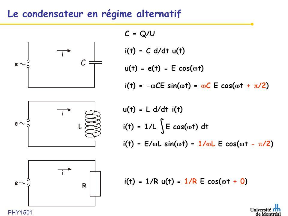 Le condensateur en régime alternatif