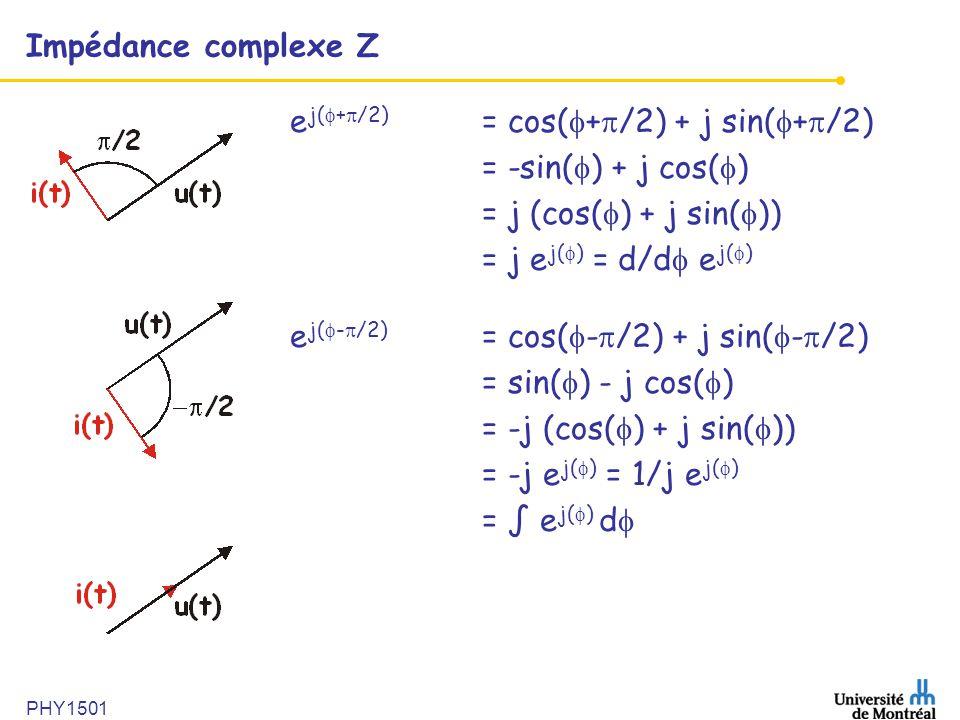 ej(+/2) = cos(+/2) + j sin(+/2) = -sin() + j cos()
